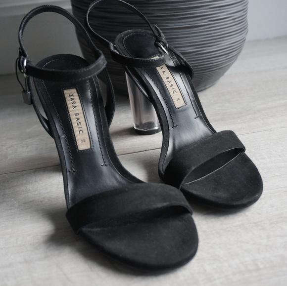 Zara Shoes - ZARA Suede/Transparent Block Heels